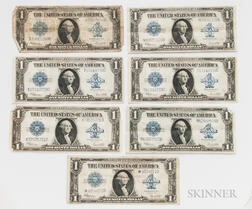 Seven 1923 $1 Silver Certificates, Fr. 237 and 237*.     Estimate $200-300