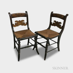 Pair of Painted and Stenciled Fancy Chairs