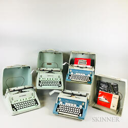 Four Cased Hermes 3000 Blue-Green Typewriters