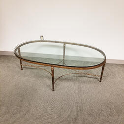 Hollywood Regency-style Bronzed Metal Glass-top Coffee Table