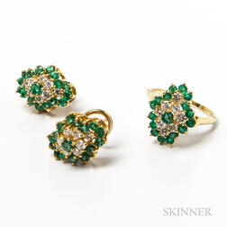18kt Gold, Emerald, and Diamond Earrings and Ring