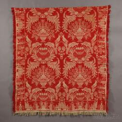 "Woven Red and White Tied-Beiderwand Coverlet with ""Bostontown"" Border"
