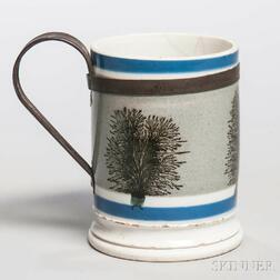 Mocha-decorated Whiteware Mug with Make-do Handle