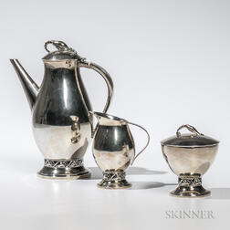 Three-piece Durham Silver Co. Sterling Silver Coffee Service