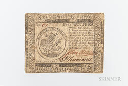 November 29, 1775 $5 Continental Currency Note, CC-15.     Estimate $100-200
