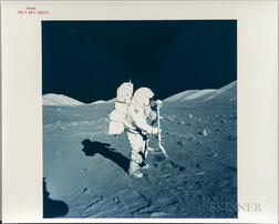 Apollo 17, Harrison Schmitt with Lunar Rake at Steno Crater Station 1.