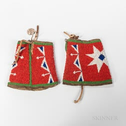 Pair of Plains Beaded Hide Cuffs