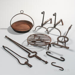 Nine Wrought Iron Hearth Items