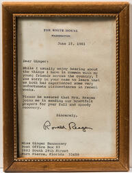 Reagan, Ronald (1911-2004) Typed Letter Signed and Two Photographs