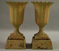 Pair of Small Painted Cast Iron Garden Urns