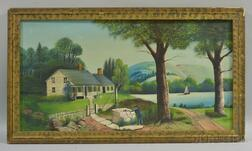 American School, 20th Century      Lakeside Homestead with a Man Drinking from a Well.