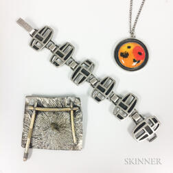 Three Pieces of Modern Sterling Silver Jewelry