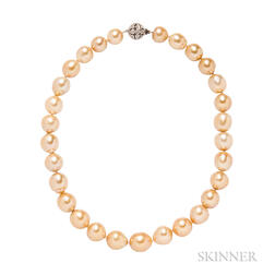 Golden Baroque Pearl Necklace
