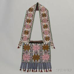 Winnebago Beaded Cloth Bandolier Bag