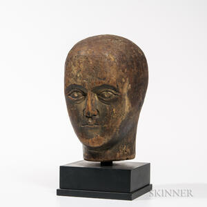 Carved Wood Head of Man