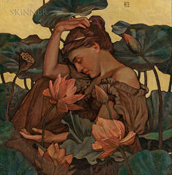 Art Nouveau School, 19th/20th Century      Lady with Waterlilies