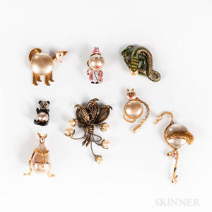 Group of Faux Pearl Figural Costume Brooches