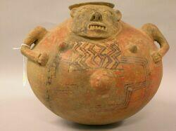 Large Pre-Columbian Pottery Effigy Vessel, Guanacaste, Costa Rica, c. 800 A.D., the rounded hollow form with applied grimacing face, tw
