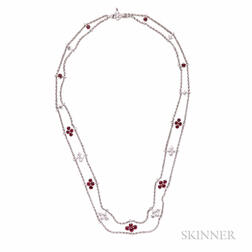 18kt White Gold, Ruby, and Diamond Necklace
