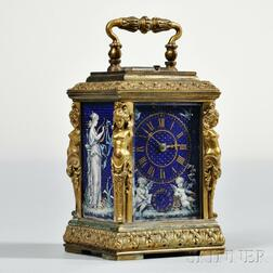 French Enamel Carriage Clock with Case