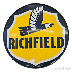 Large Circular Porcelain Richfield Sign