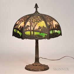 Arts and Crafts Slag Glass Table Lamp