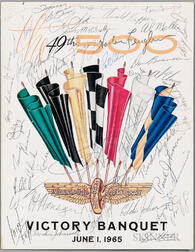 Indianapolis 500 Victory Dinner Menu Signed June 1, 1965.