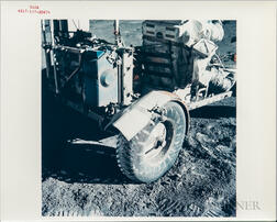 Apollo 17, Close-up of the Repaired Lunar Roving Vehicle Driven by Schmitt, December 1972.