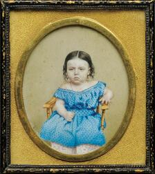 Portrait Miniature of a Small Child in a Blue Dress Seated in a Yellow Chair