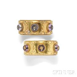 Pair of Antique Gold, Amethyst, and Diamond Bracelets, Carlo Giuliano