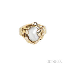 Arts and Crafts 14kt Gold and Freshwater Pearl Ring, Kalo
