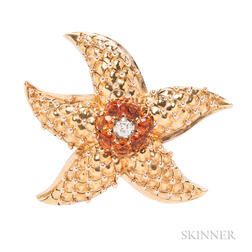 18kt Gold, Citrine, and Diamond Starfish Clip Brooch