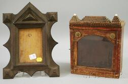Tramp Art Notch-carved Wooden Frame and Small Notch-carved and Glazed Display   Cabinet