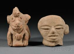 Pre-Columbian Clay Animal Figure and a Figural Fragment.
