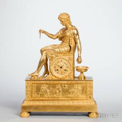 Young Philosopher Gilt Figural Clock