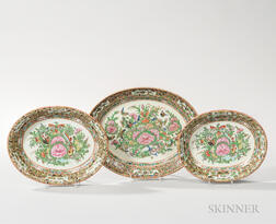 Three Graduated Oval Famille Rose Export Porcelain Serving Dishes