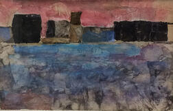 Joseph Peter Gualtieri (American, 1916-2015)      Abstract City Waterfront Collage