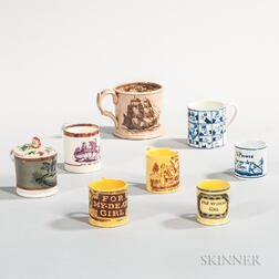 Seven Transfer-decorated Child's Mugs and a Larger Transfer-decorated Mug