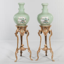 Pair of Chinese Celadon Bottle Vases with Gilt-metal Floor Stands