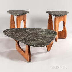 Noguchi-style Marble-top Coffee Table and Two Side Tables