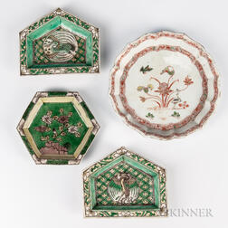 Four Polychrome Enameled Dishes