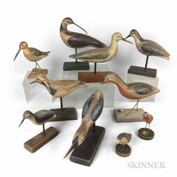 Ten Carved and Painted Shore Birds