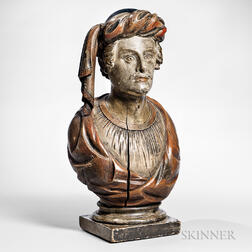 Carved and Painted Turk's Head Countertop Figure