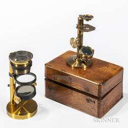 Two Lacquered brass Dissecting Microscopes