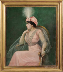 Heinrich Michaelis (German, b. 1837)      Elegant Woman in Pink with a Plumed Turban Hat