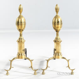 Pair of Brass and Iron Double Lemon-top Andirons