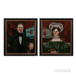 Ruth Whittier Shute (New Hamphshire, 1803-1882)      Pair of Portraits of Mr. Christopher Forehand and Mrs. Betsey Forehand