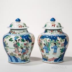 Pair of Famille Verte Vases and Covers