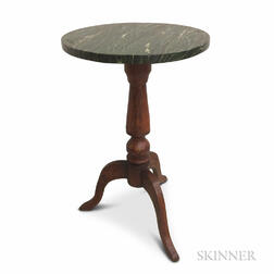 Country Grain-painted Faux Marble-top Candlestand