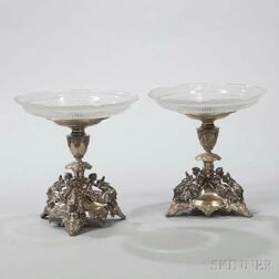 Pair of Silvered Metal Tazzas